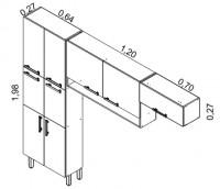 IPLD-64 6P (paneleiro duplo c/6 portas)<br /> IP2NCH-120/IPH-70 (armário de parede 2 portas com nicho e armário parede horizontal) | Cozinhas Itatiaia