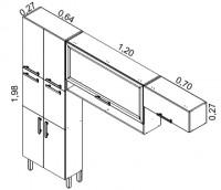 IPLD-64 6P (paneleiro duplo c/6 portas)<br /> IPHMNCH-120/IPH-70 (armário de parede horizontal vidro moldura c/ nicho e armário parede horizontal) | Cozinhas Itatiaia