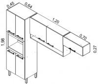 IPLDFNO-64 6P (paneleiro duplo profundo forno)<br /> IP2NCH-120/IPH-70 (armário de parede 2 portas com nicho e armário parede horizontal) | Cozinhas Itatiaia