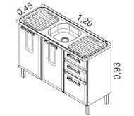 Gabinete 2 portas e 3 gavetas com pia | Cozinhas Itatiaia