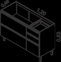 Gabinete 2 portas horizontais e 3 gavetas | Cozinhas Itatiaia