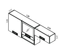 Armário 2 portas com nicho 1 porta vidro art. e 1 Armário parede horizontal | Cozinhas Itatiaia
