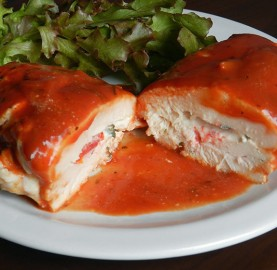 Frango recheado com tomate queijo e orégano | Cozinhas Itatiaia