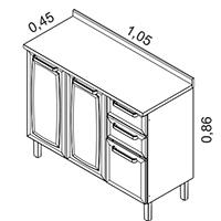 Gabinete 3 portas e 2 gavetas | Cozinhas Itatiaia
